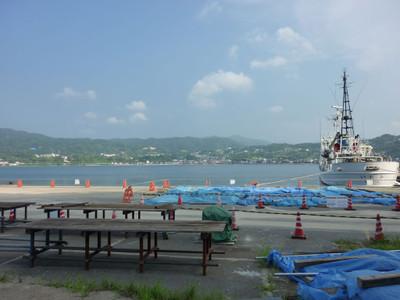 大島付近から眺めた長浜町と海上保安庁の巡視船