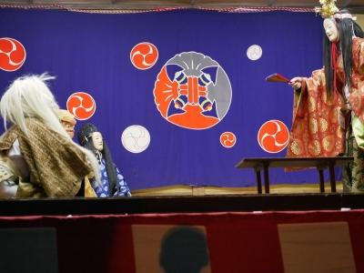橘樹神社の奉納神楽・神逐蓑笠・素尊勘当・天照大神に素戔嗚命の暴虐を訴える保食神