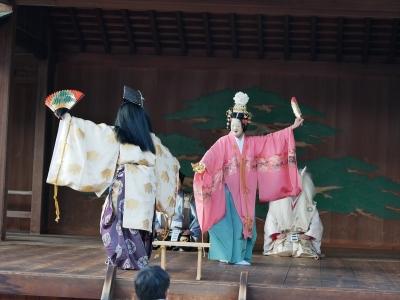 梅鉢会・因幡白兎・連れ舞を舞う大国主命と八上姫